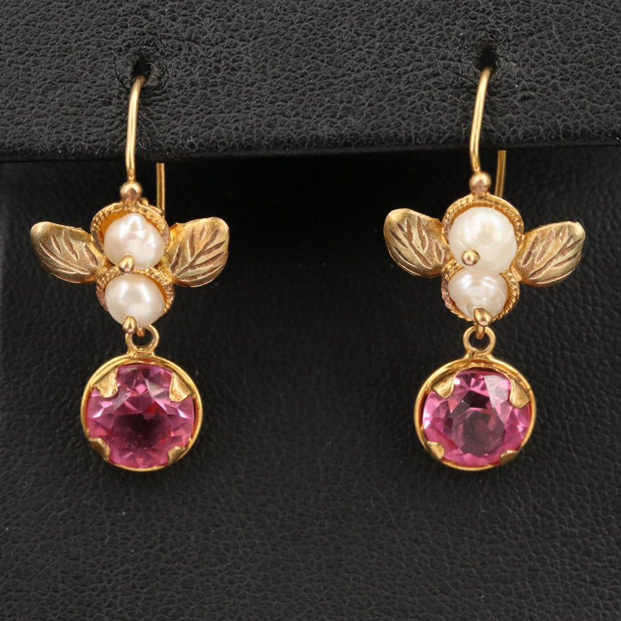 14K Pink Glass and Pearl Earrings