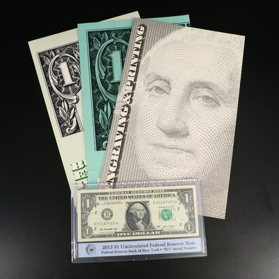 Uncut Four-Note Sheets of $1 Federal Reserve Notes and Uncirculated $1 Note