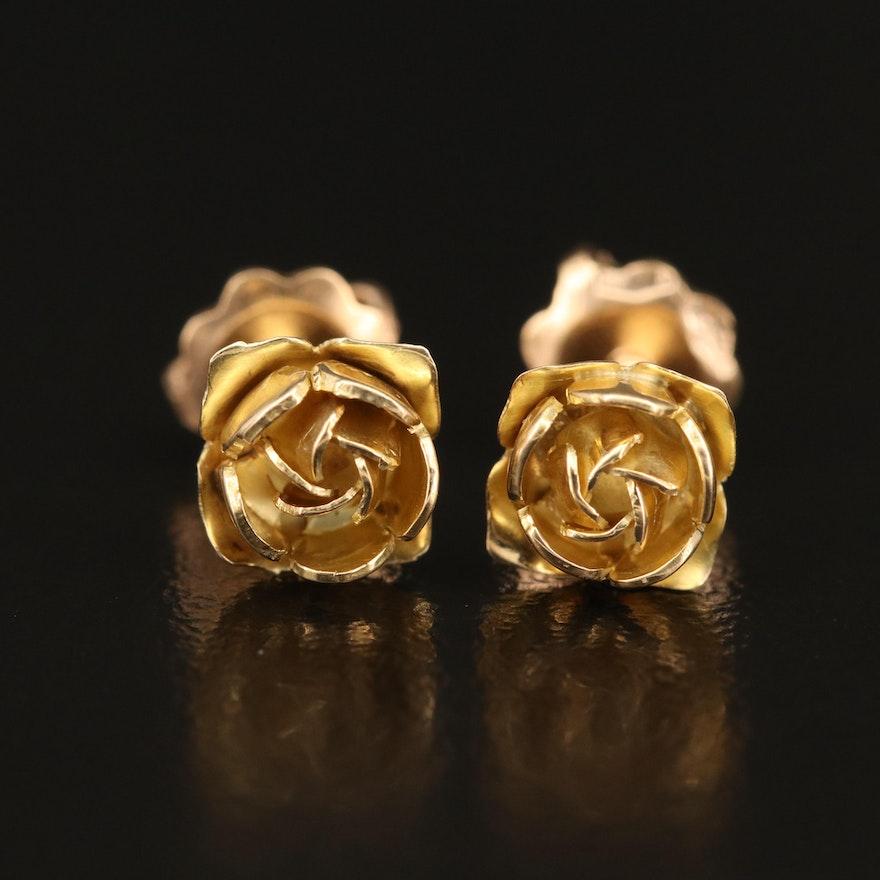 18K Rose Bud Stud Earrings