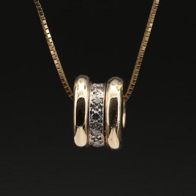 14K Diamond Pendant on Italian Chain Necklace