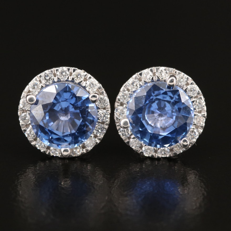 14K 4.91 CTW Ceylon Sapphire and Diamond Stud Earrings with GIA Reports