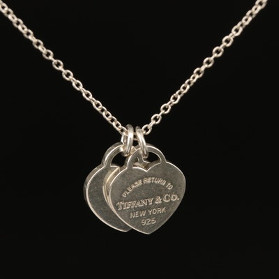 """Tiffany & Co. Sterling """"Return to Tiffany"""" Mini Double Hearts Necklace"""