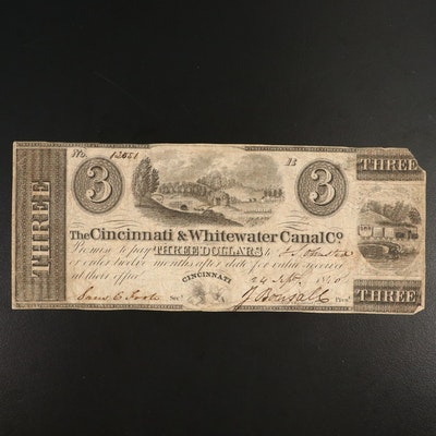 1840 Cincinnati & Whitewater Canal Co. $3 Obsolete Currency Note