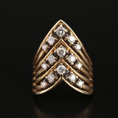 14K Diamond Chevron Ring