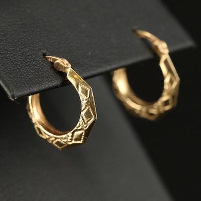 14K Faceted Hoop Earrings with Stamped Detail