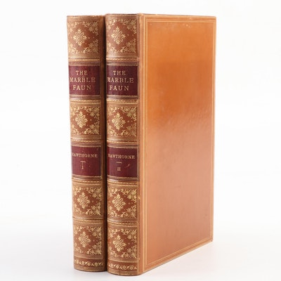 """Illustrated """"The Marble Faun"""" Two-Volume Set by Nathaniel Hawthorne, 1890"""