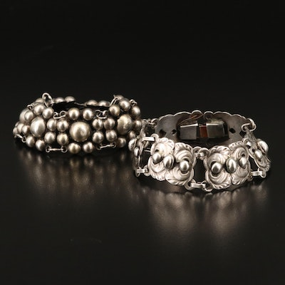 1940s Mexican and Danish Sterling Silver Link Bracelets