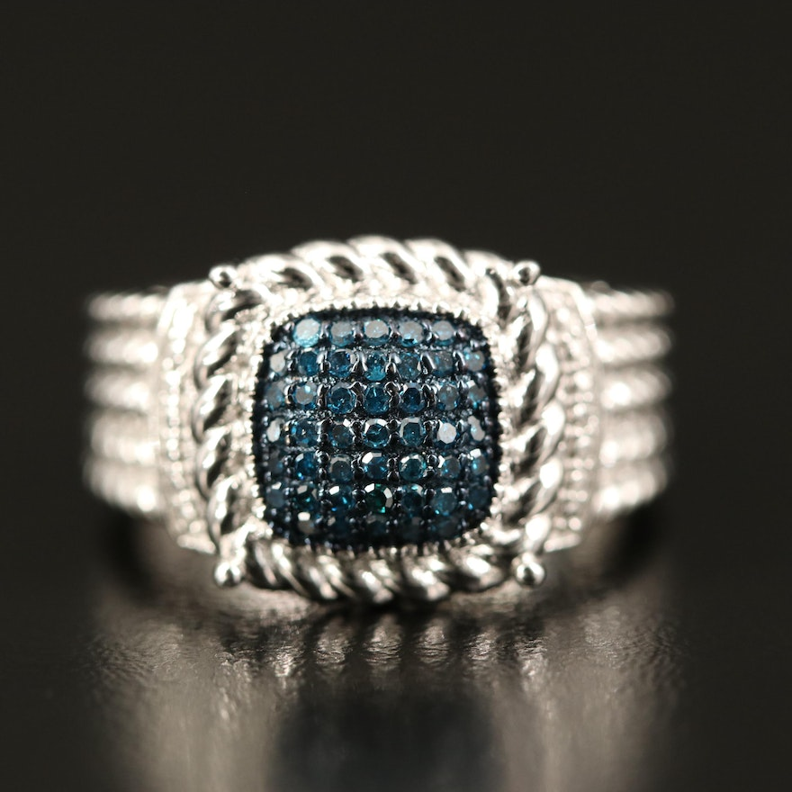Sterling Diamond Ring with Rope Accents