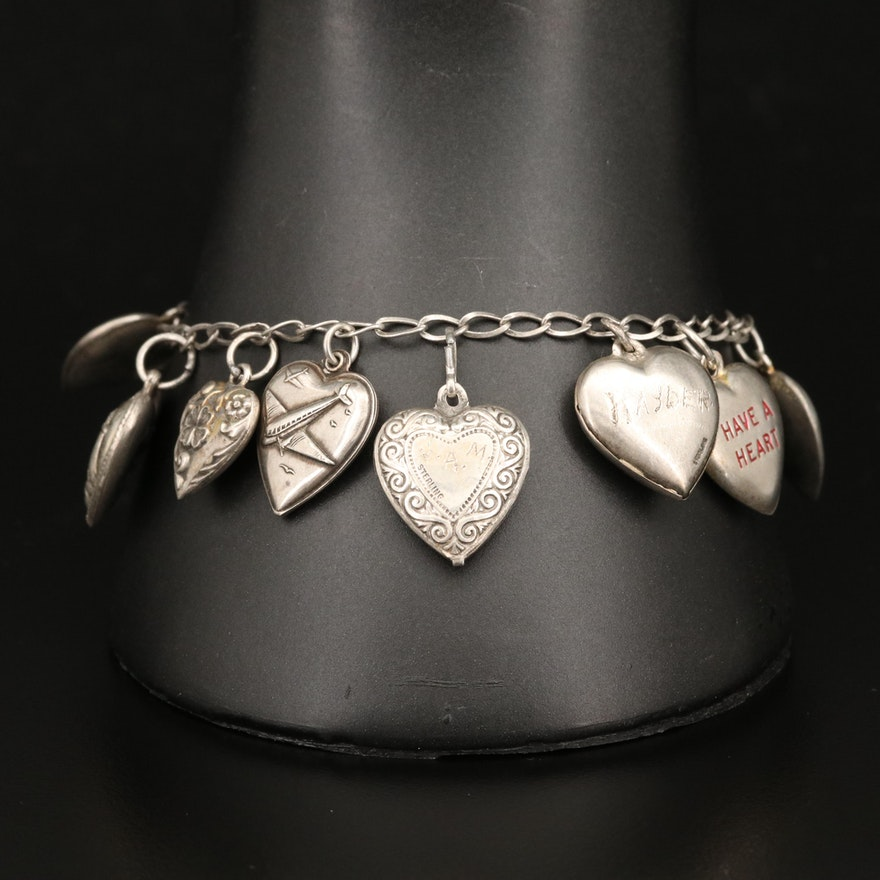 1940s Sterling Silver Puffed Heart Charm Bracelet