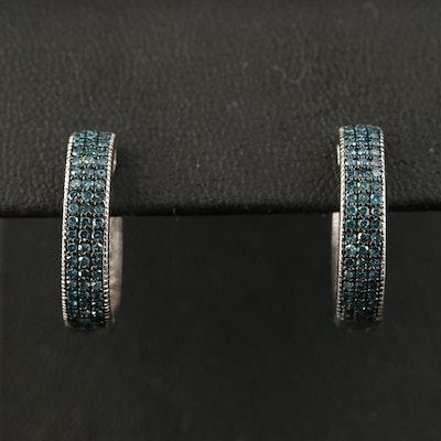 Sterling Diamond Triple Row Hoop Earrings with Milgrain Detail