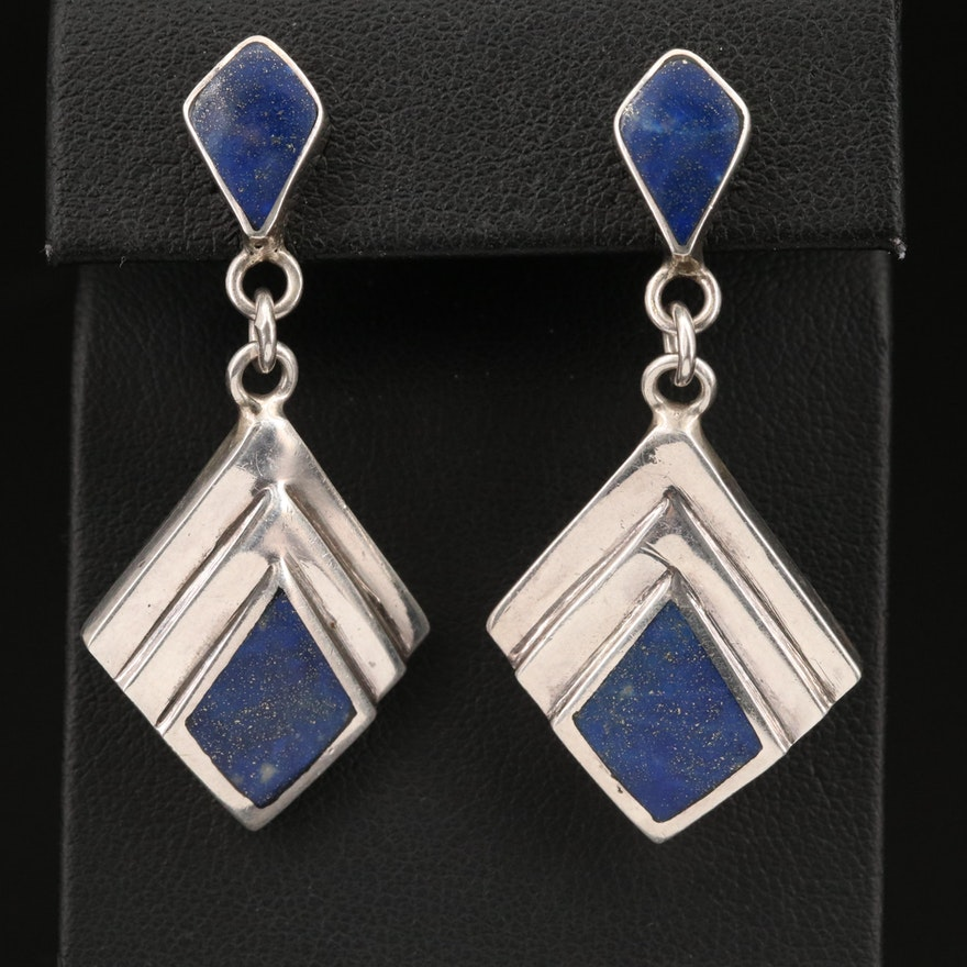 Modernist Sterling Silver Lapis Lazuli Earrings