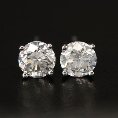 Platinum 1.97 CTW Diamond Stud Earrings with GIA Dossier and eReport