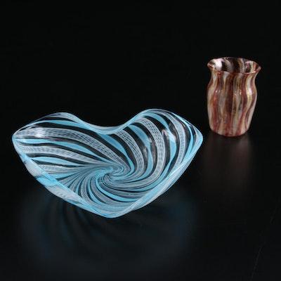 Murano Handblown Zanfirico and Latticino Glass Ashtray and Toothpick Holder