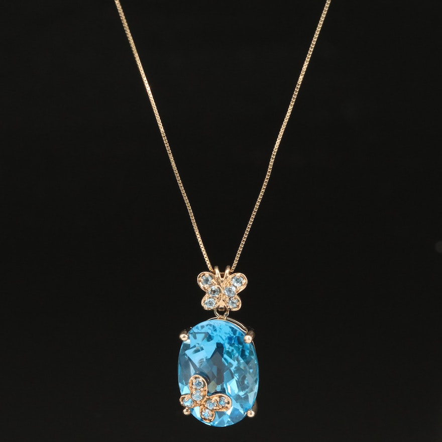 10K Topaz Butterfly Pendant with 14K Chain Necklace