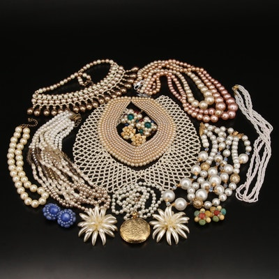 Vintage Costume Jewelry Featuring Detachable Shirt Collar