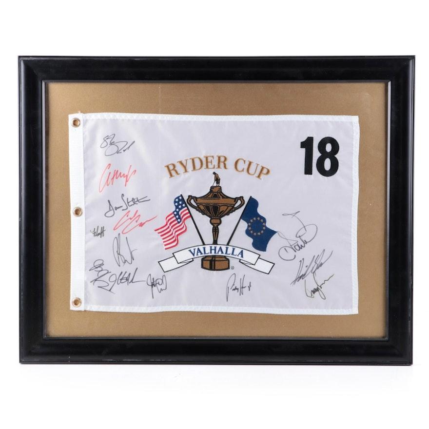 2008 Ryder Cup Valhalla Signed Souvenir Pin Flag, Framed