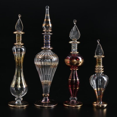 Egyptian Handblown Art Glass Perfume Bottles with Hand-Painted Gold Accents