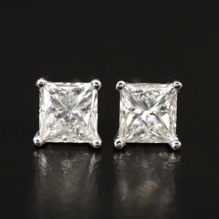 Platinum 2.04 CTW Diamond Stud Earrings with GIA eReports