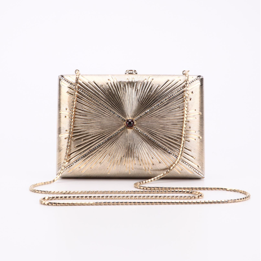 Judith Leiber Garnet and Crystal Embellished Minaudière with Accessories