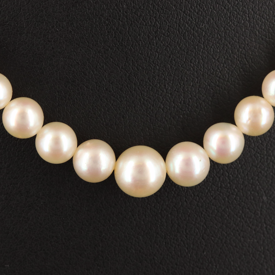 Vintage Mikimoto Graduated Pearl Necklace with Case