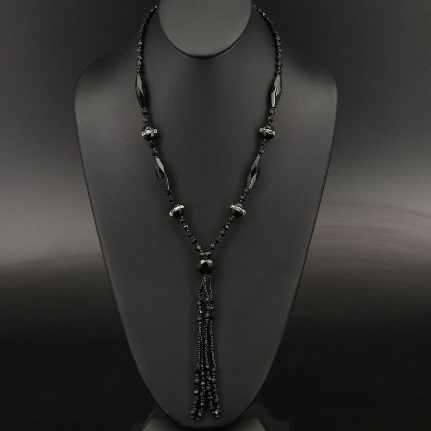Art Deco Style Sautoir with Sterling Silver Clasp
