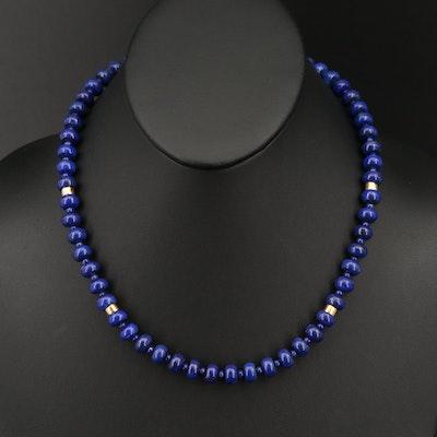 18K Lapis Lazuli Bead Necklace