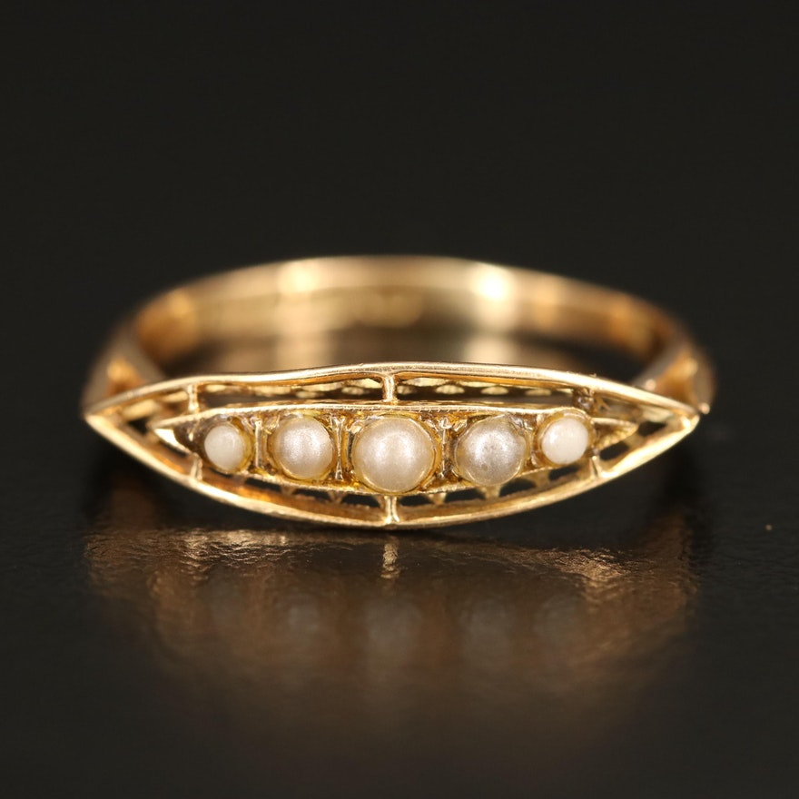 Vintage 18K Imitation Pearl Ring
