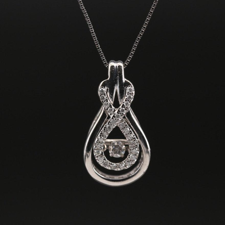 10K Diamond Necklace with Fluttering Diamond Center