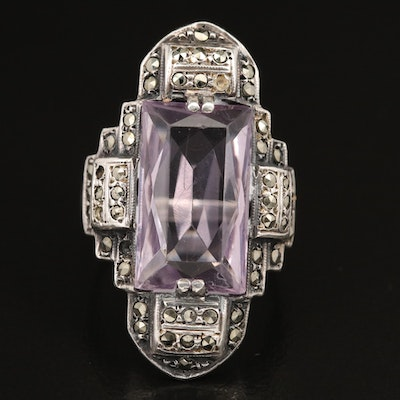 German Art Deco Sterling Silver Amethyst and Marcasite Ring