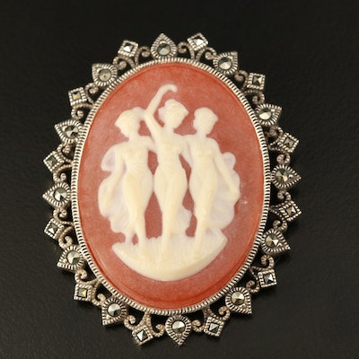 Vintage Three Graces Cameo Brooch in Sterling