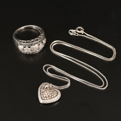 Sterling Silver Diamond Heart Ring with Heart Pendant Necklace