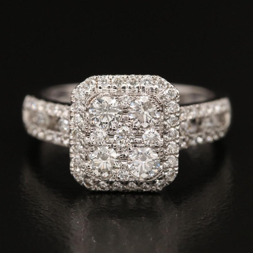 14K 1.17 CTW Diamond Halo Ring