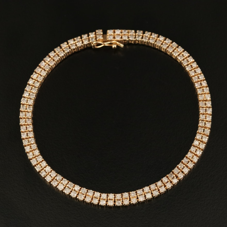 14K 2.90 CTW Diamond Double Row Bracelet