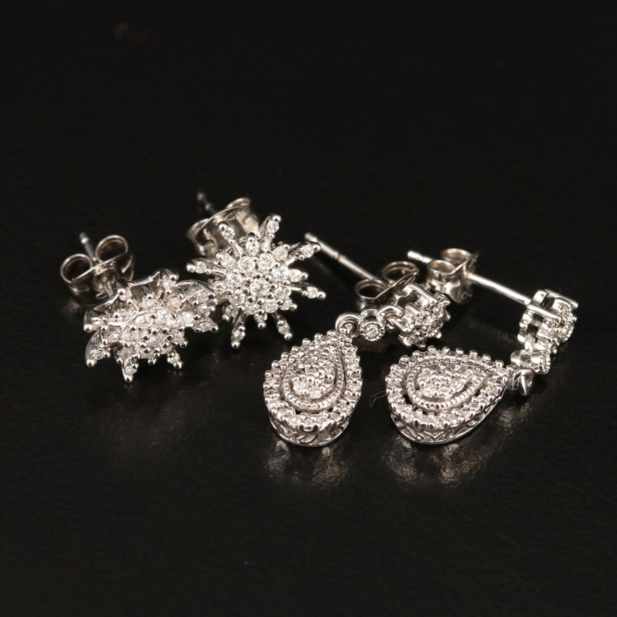 Sterling Silver Diamond Teardrop and Starburst Earrings