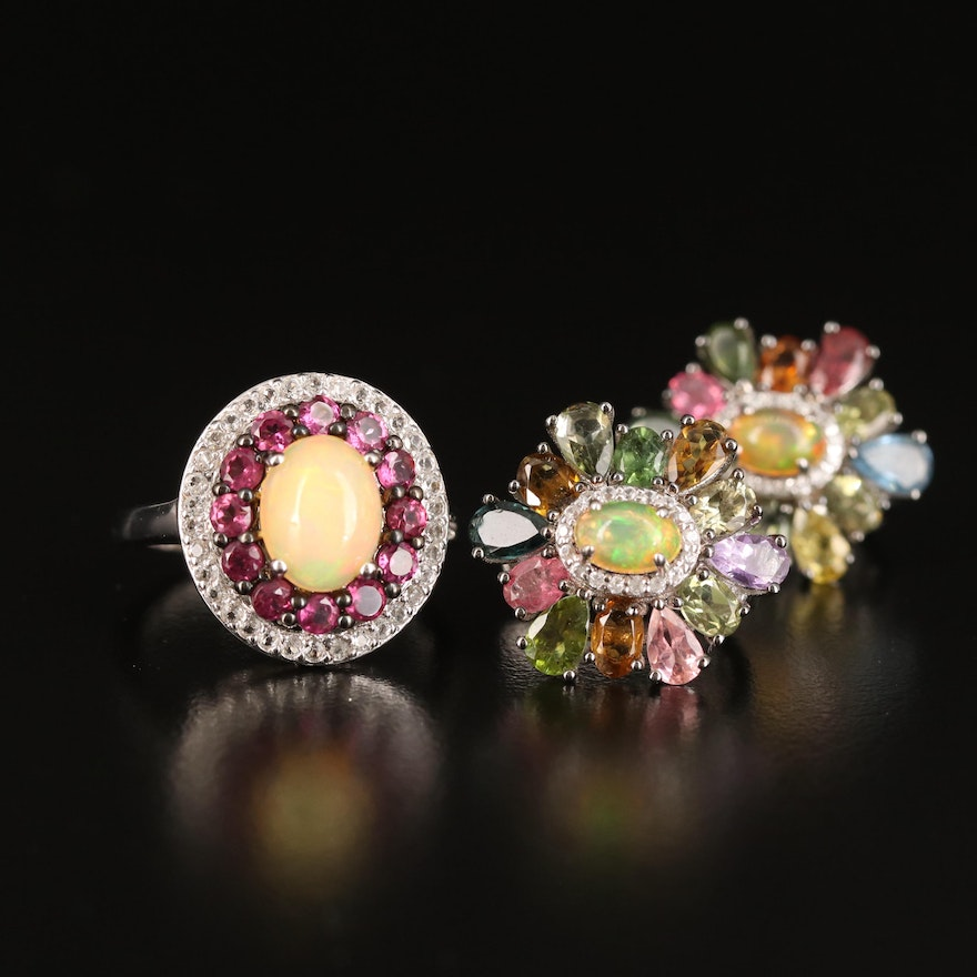 Sterling Ring and Earrings Including Opal, Topaz and Garnet