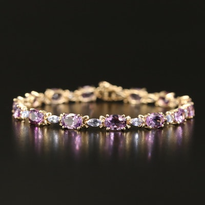 10K Amethyst and Tanzanite Line Bracelet