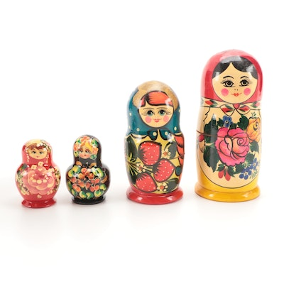 Four Sets of Handcrafted Russian Matryoshka Dolls, Mid to Late 20th Century