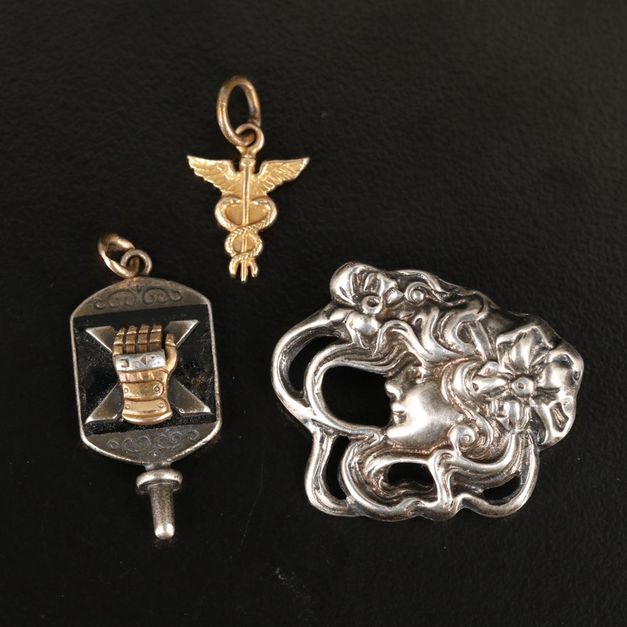 Art Nouveau and Vintage Pendants and Pin Featuring Sterling Silver and 10K Gold