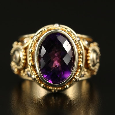 Zaffiro Sterling Amethyst and Topaz Ring with Granulation Details
