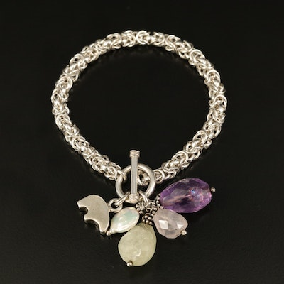 Sterling Byzantine Chain Bracelet with Amethyst, Pearl and Rose Quartz Drops