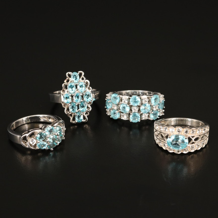 Sterling Rings Including Apatite and Topaz