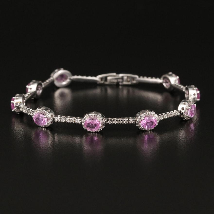18K Pink Sapphire and 1.00 CTW Diamond Bracelet