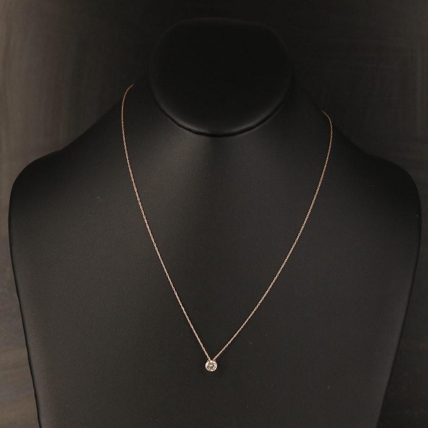 14K 0.53 CT Bezel Set Diamond Solitaire Pendant Necklace