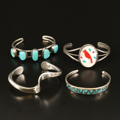 Southwestern Sterling Inlay and Twisted Cuffs with Turquoise and Mother of Pearl