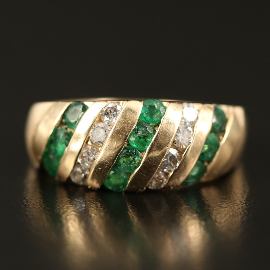 14K Emerald and Diamond Channel Set Ring