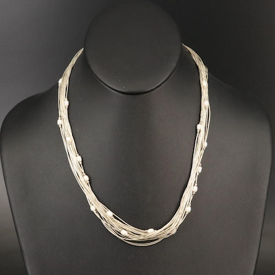 Liquid Sterling Silver Pearl Station Necklace