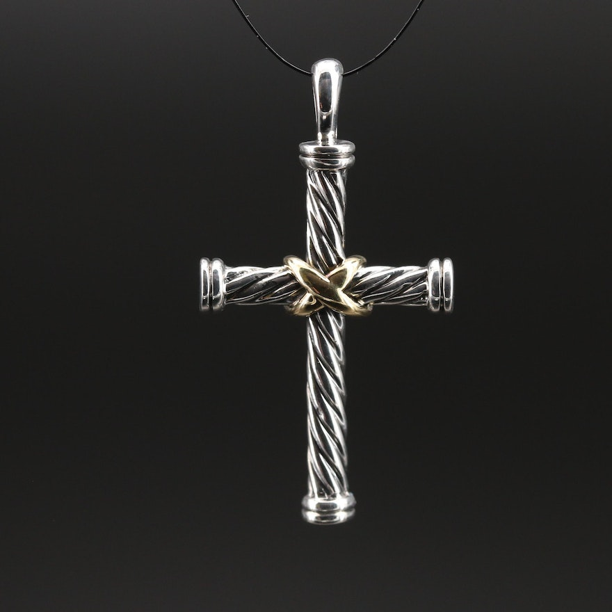 David Yurman Classic Cable Sterling Cross with 18K Accents