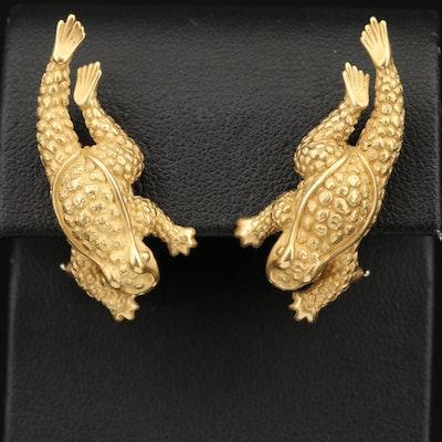 Vintage Barry Kieselstein-Cord 18K Leaping Frog Earrings