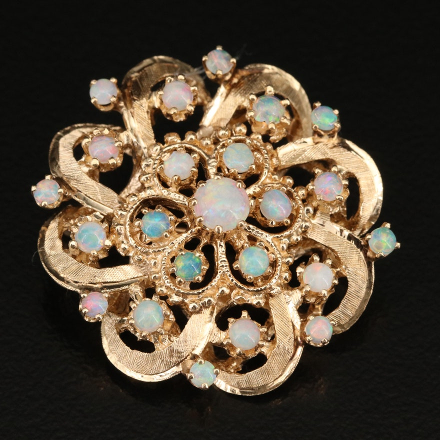 Vintage Style 14K Opal Brooch with Florentine Finish and Granulation