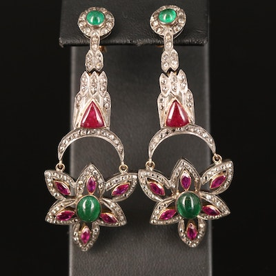 Sterling Emerald, Ruby and Diamond Earrings